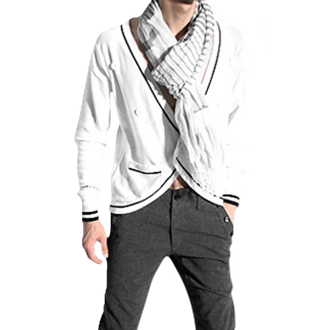 Men White Trendy Elastic Pockets Front Stripes Detail Cardigan M