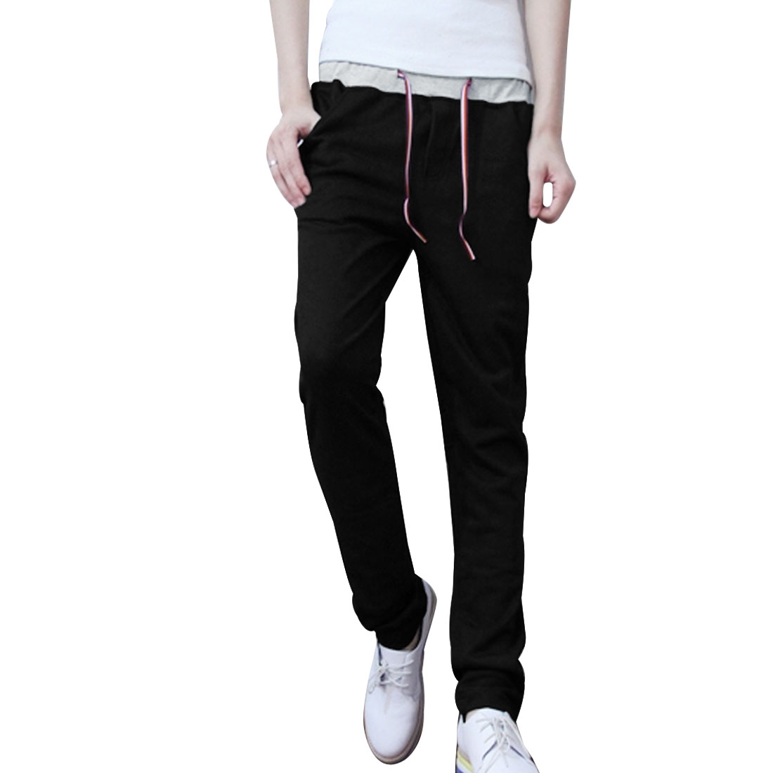 Mens Low Rise Elastic Waistband Autumn New Fashion Casual Black Pants W27