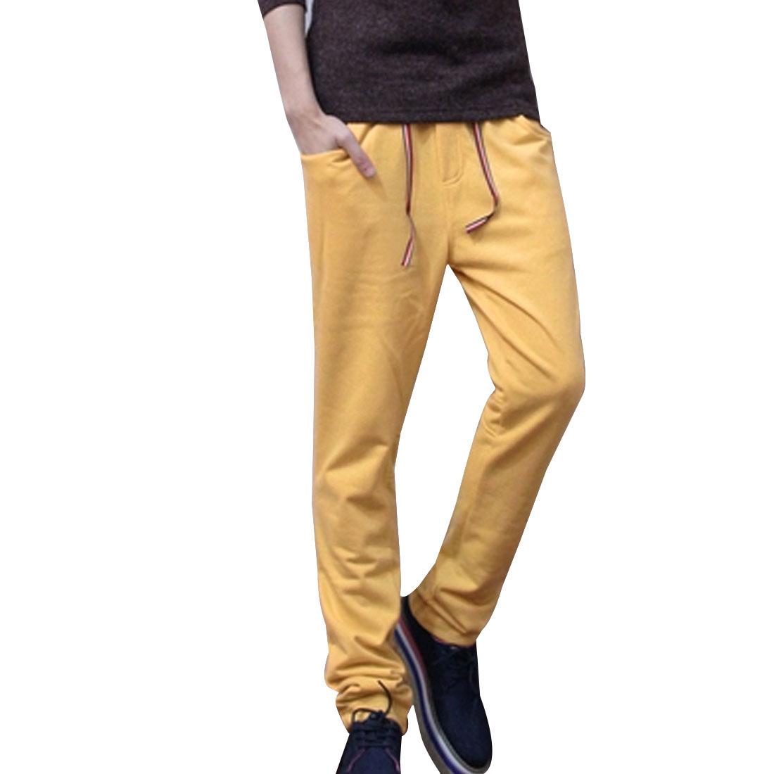 Mens Korea Fashion Low Waist Dark Yellow Leisure Sweatpants W27
