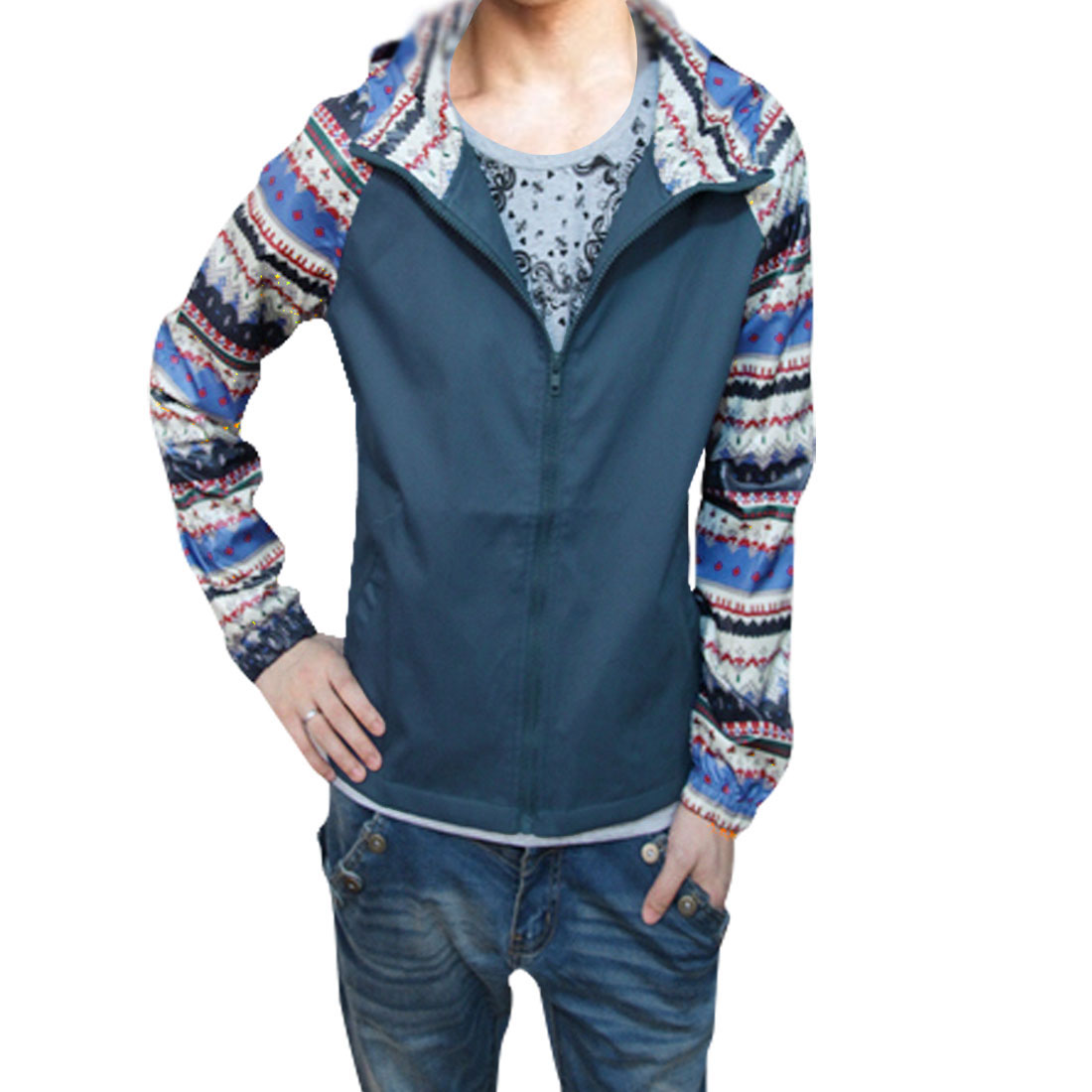 Men Steel Blue Off White Leisure Zipper Closure Fall Hoodie M