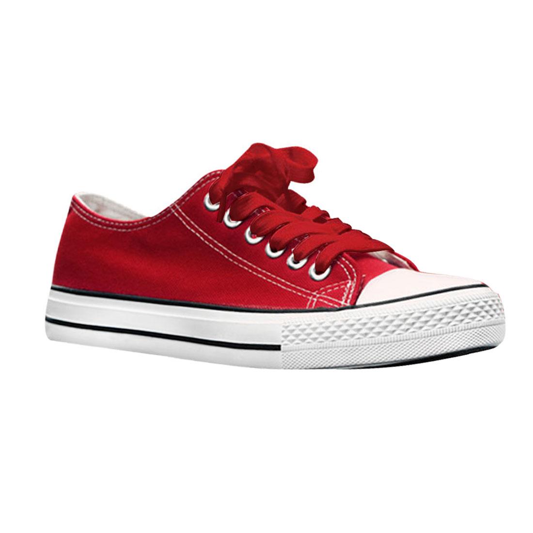Unisex Red White Capped Toe Canvas Upper Sneaker Shoe Us Size Men 7/Women 9