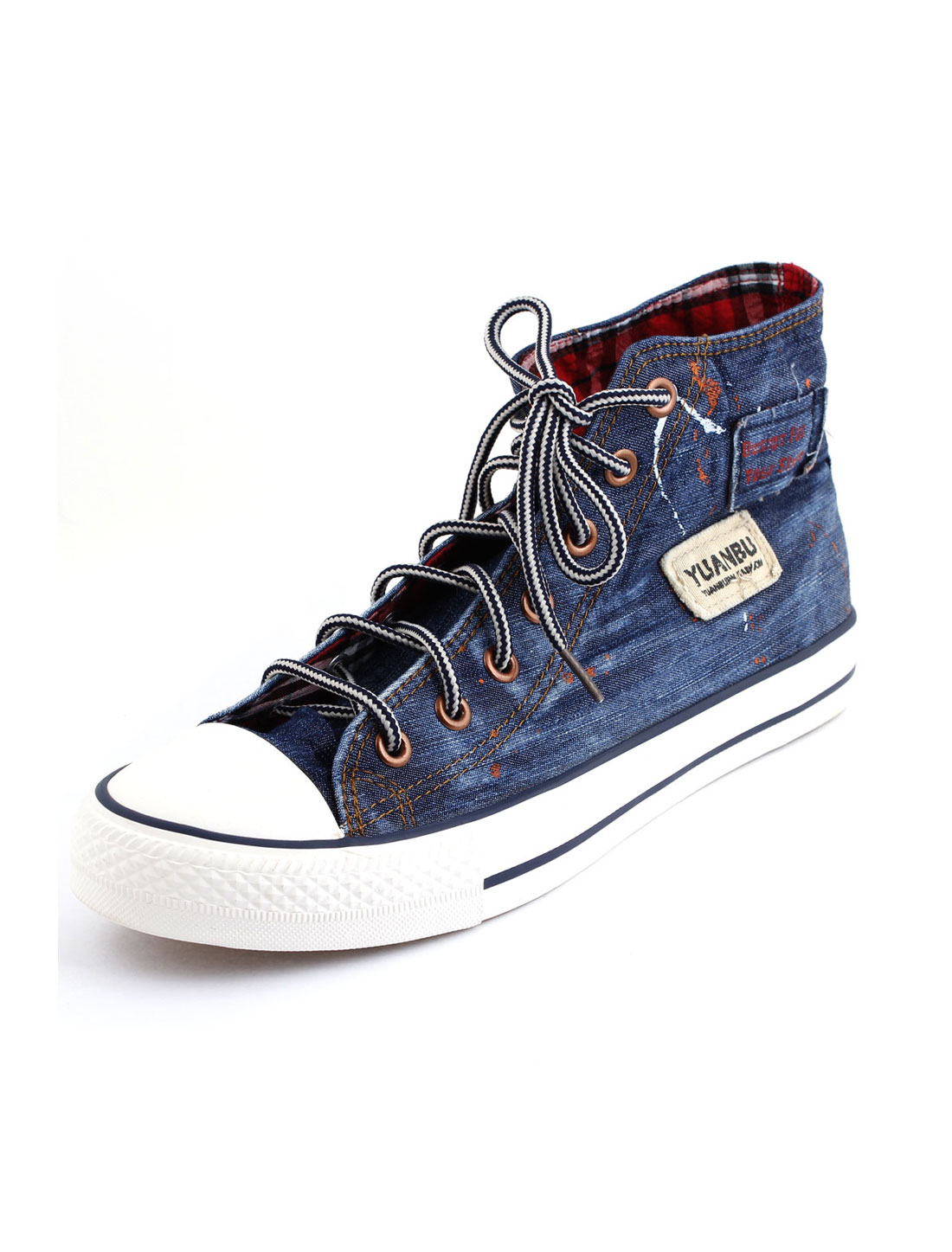 Unisex Denim Light Blue Lace Up Front Stripe Midsole Canvas Shoe Us Size Men 8/Women 10
