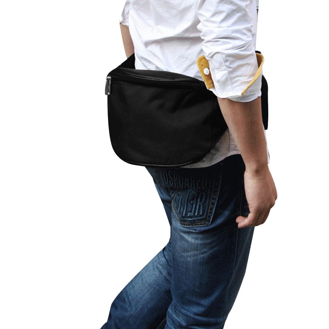 Mens Korea Fashion Black Faux Leather Patch Canvas Chest Bag