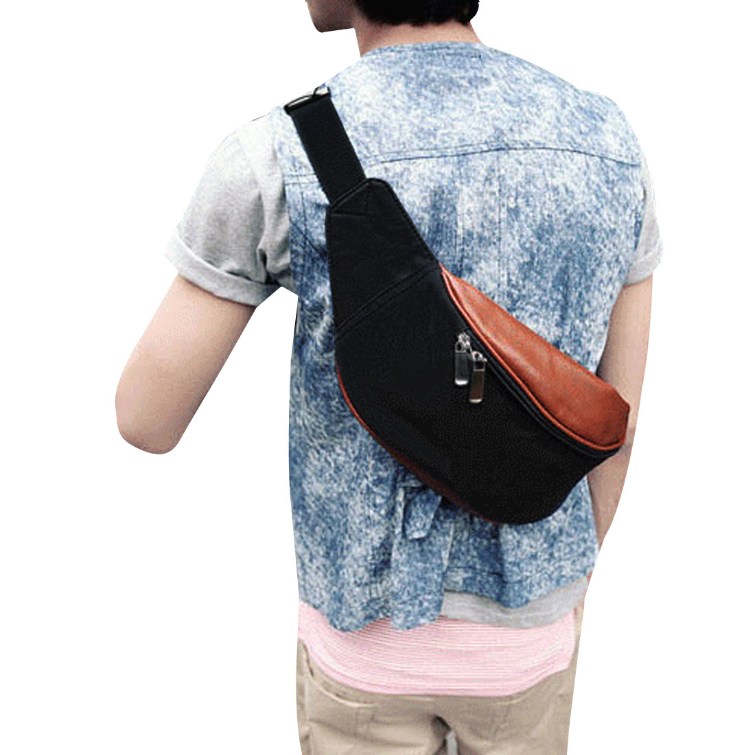 Mens Coffee Color Black Dual-use Zippered Pockets Canvas Waist Bag