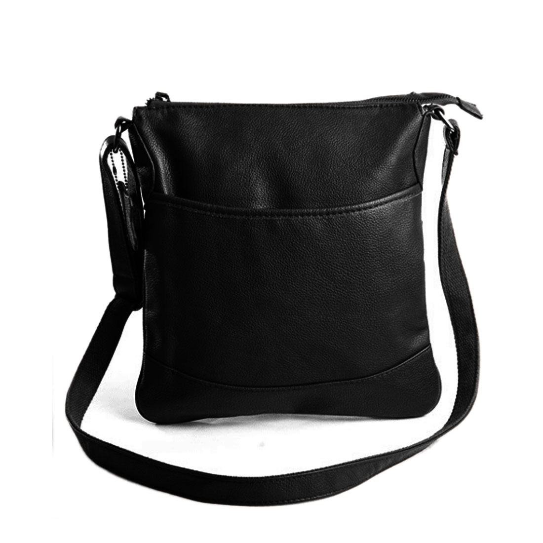 Mens Black Adjustable Strap Zippered Pockets Leather Look Shoulder Bag