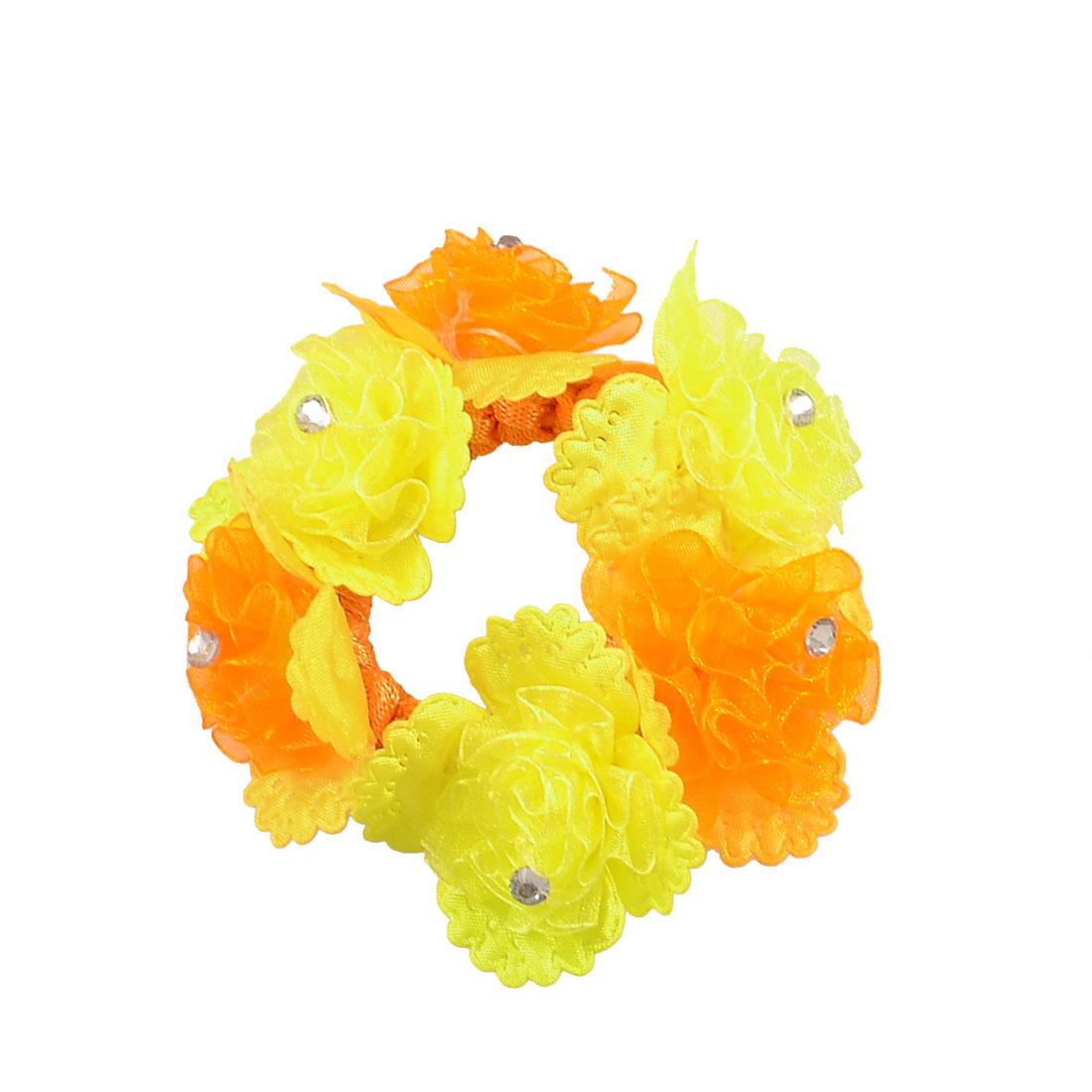 Yellow Orange Flower Design Rhinestone Decor Stretchy Fabric Hair Tie Hairdress Band