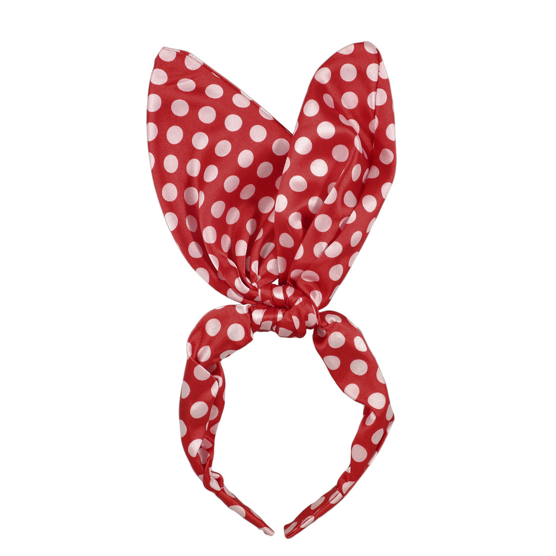 Lady White Dot Print Rabbit Ear Style Headband Hair Hoop Red for Masquerade
