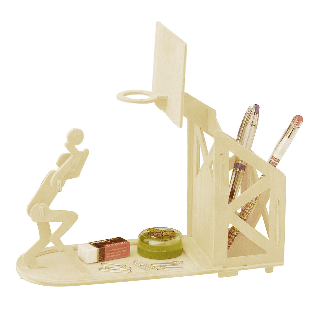 Wood Construction Basketball Pen Holder DIY Puzzle Toy