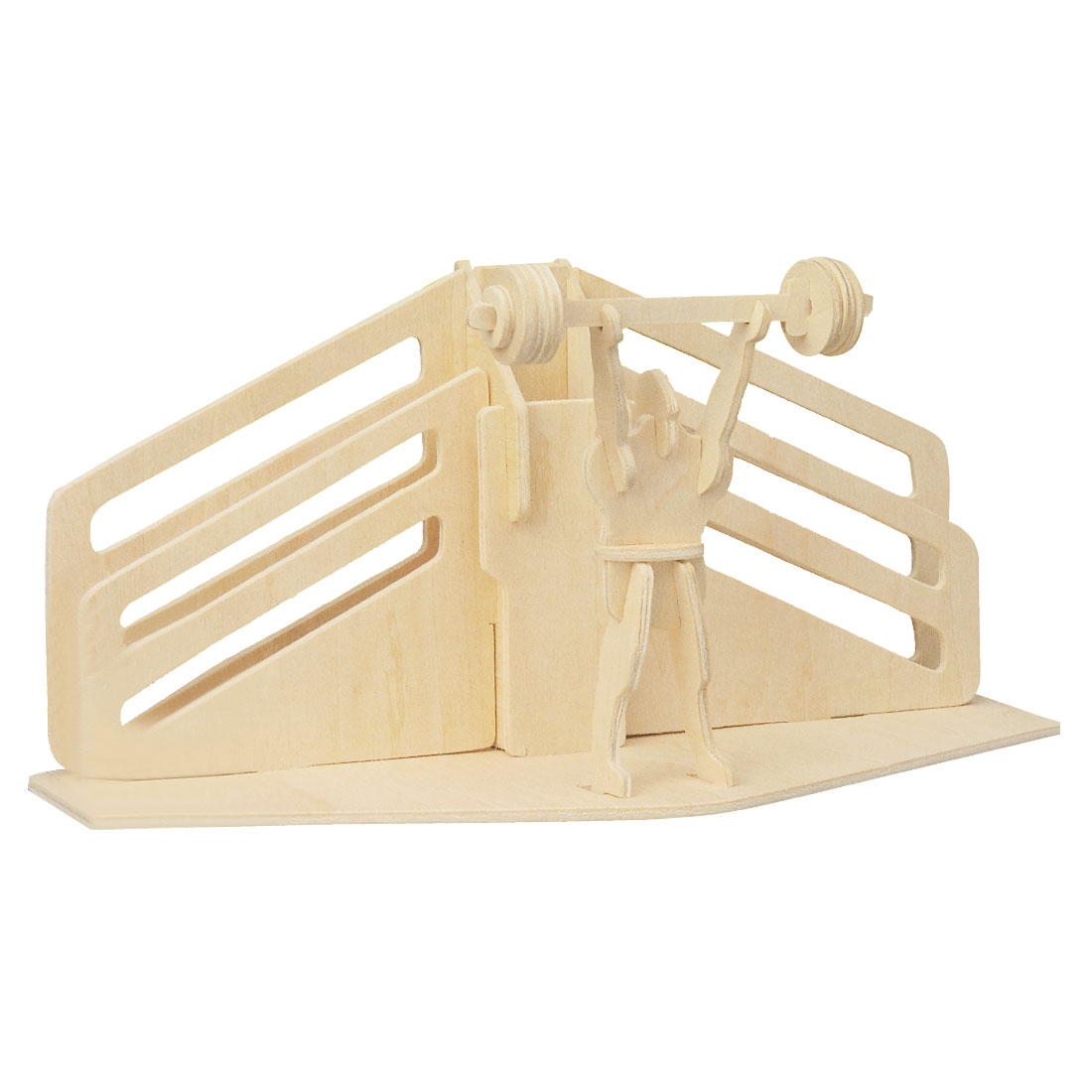 3D Wood Weight Lifting Model Woodcraft Construction Kit Puzzle Toy