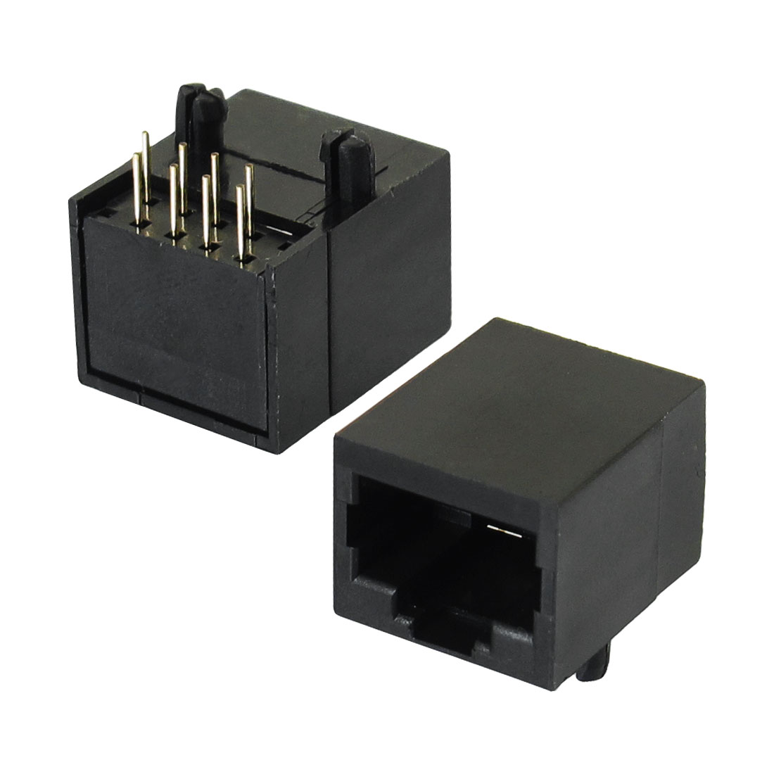 2 Pcs 8-Pin 90 Degree RJ45 Socket Network PCB Jacks Connector Gold Tone Black