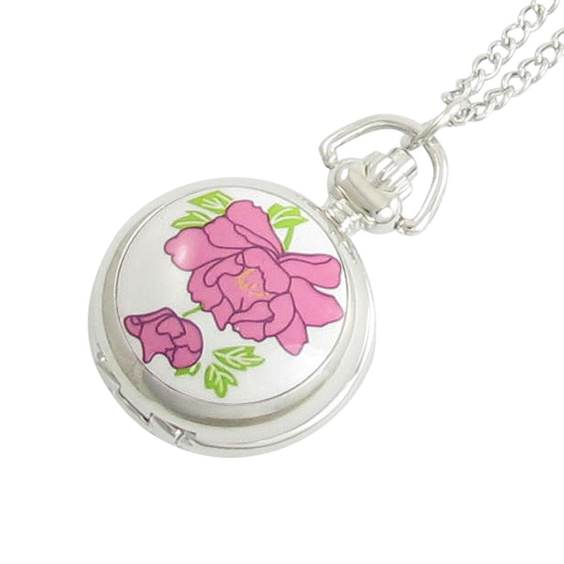 Women Pink Flower Pattern Hunter Case Quartz Necklace Watch