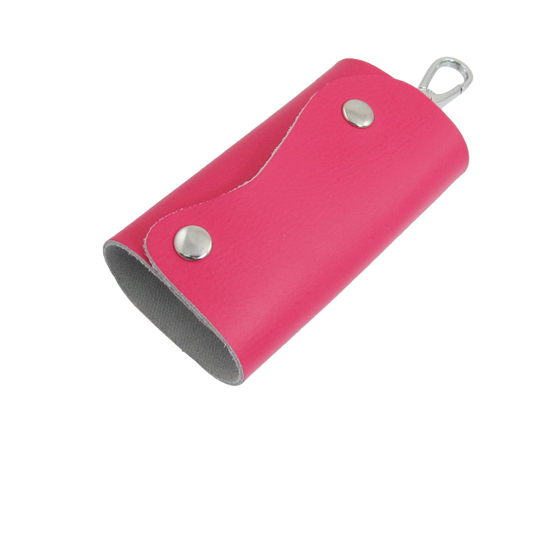 Hot Pink Faux Leather Keys 5 Hooks Storage Bag Pouch Case