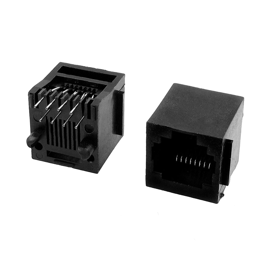 Network 8 Terminals RJ45 Modular PCB Jacks Gold Tone Black 2 Pcs