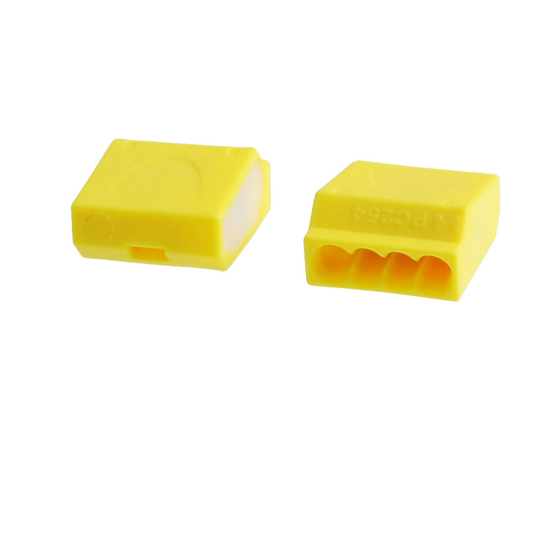 Yellow Thermoplastic AC 24A 450V 4 Contacts 12-24AWG Wire PC254 Connector 2 Pieces