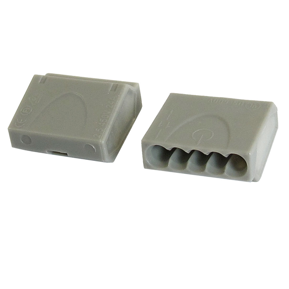 Gray Thermoplastic Terminal Block Pluggable 5 Contacts 12-24AWG AC 24A 450V Connector 2 Pcs