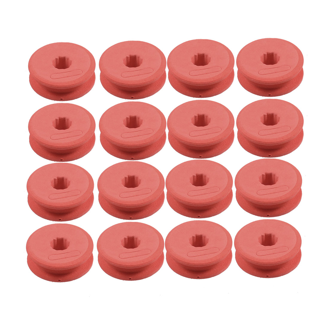 16 Pcs Red Fishing Line Foam Spool w Plastic Rectangle Case Holder