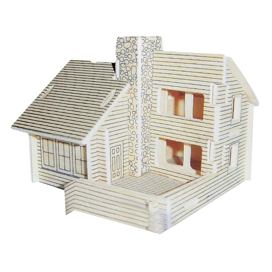 Child 3D Wood Villa Model Woodcraft Construction Kit Puzzle Toy