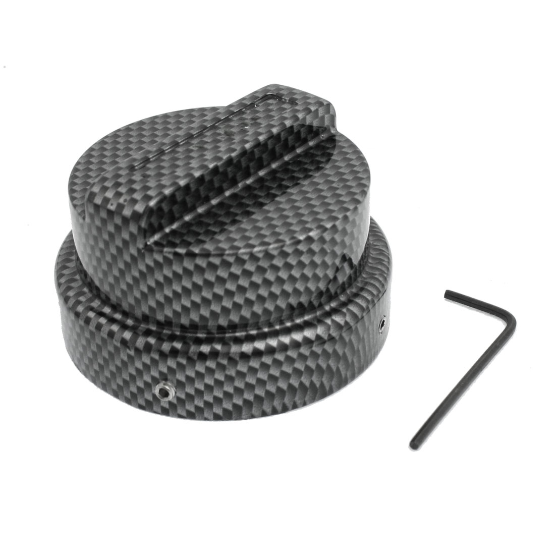 Carbon Fiber Pattern Fuel Oil Gas Tank Cover Cap Dark Gray 65mm for Car