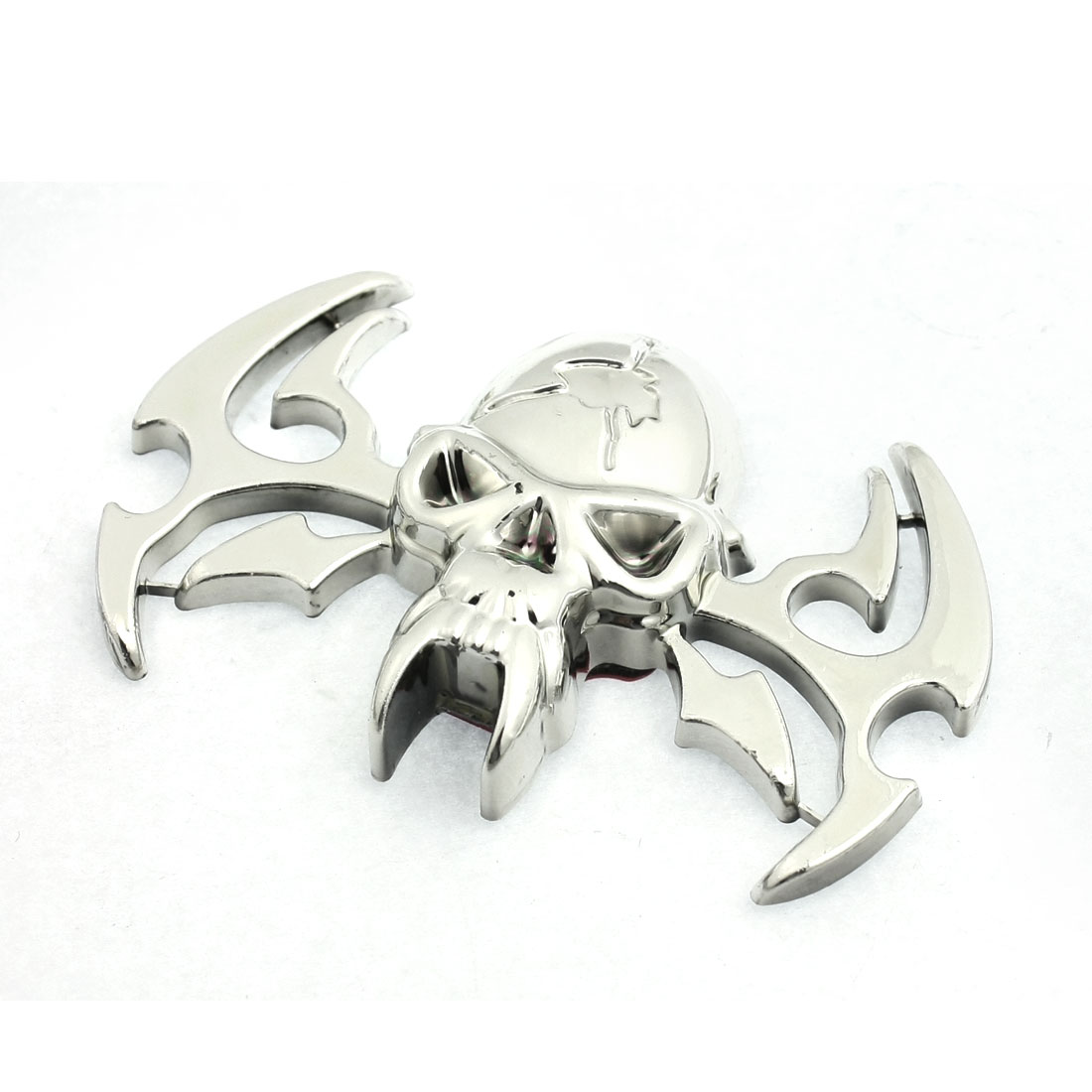 Car Exterior Self Adhesive 3D Skull Bat Sticker Emblem Ornament Silver Tone