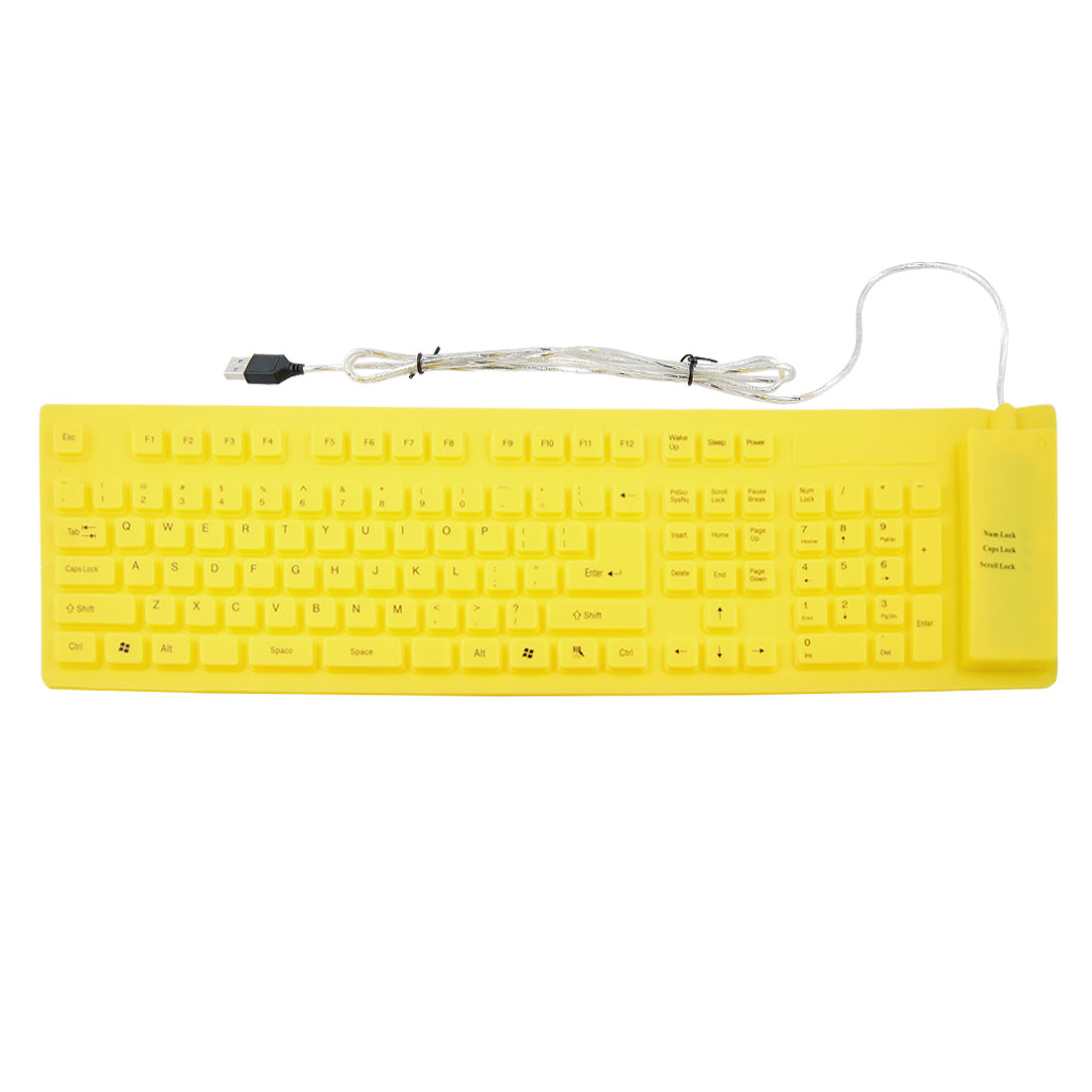 Yellow 109 Keys Roll up Silicone Folding USB Flexible Keyboard for PC Laptop