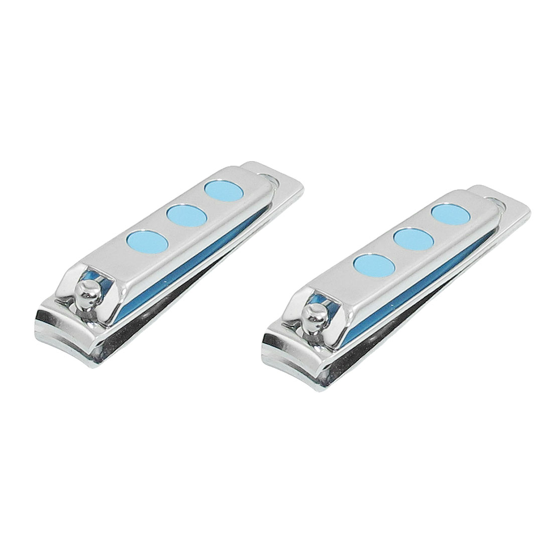 2 Pcs Blue Silver Tone Fingers Toes Nail Clipper Manicure