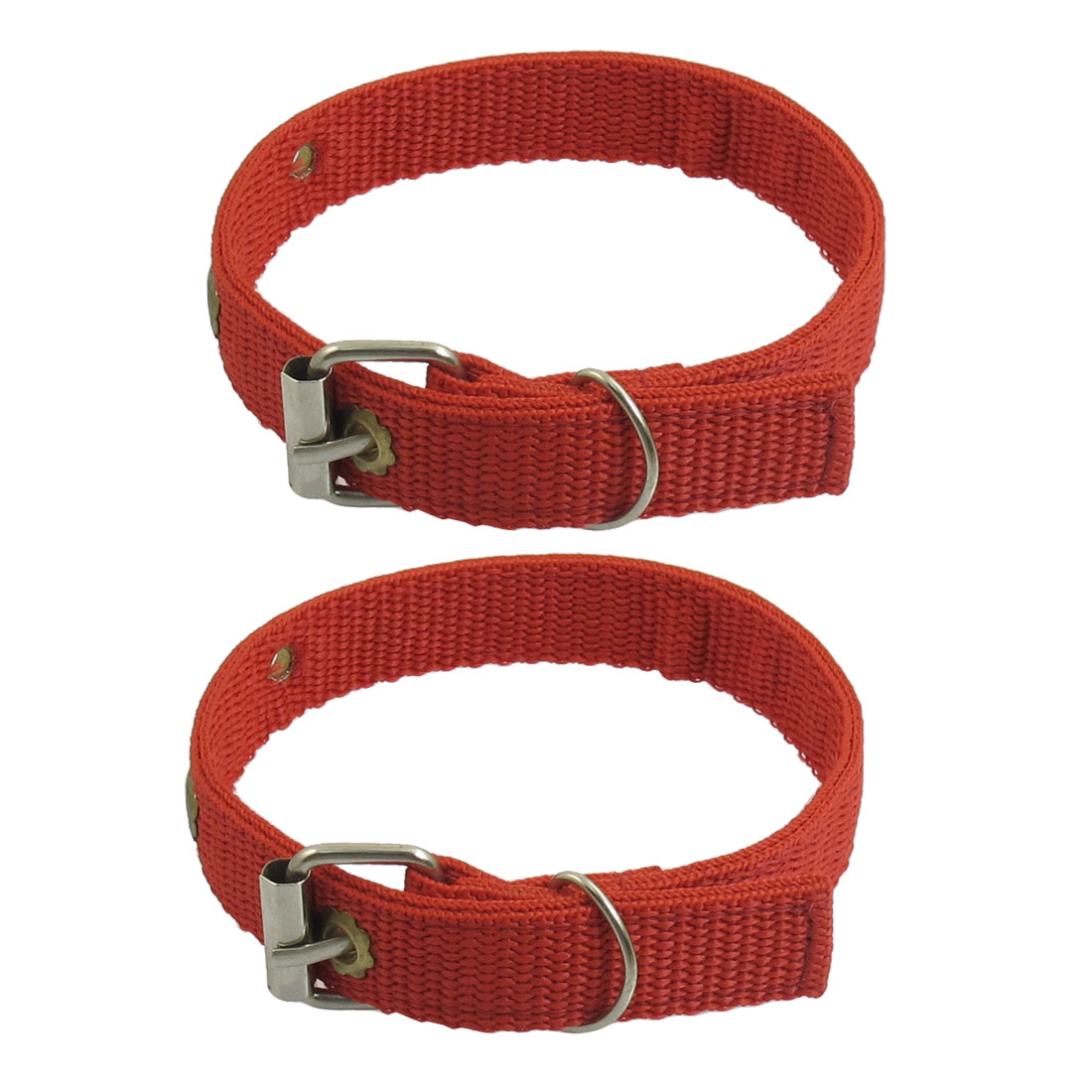 "2 Pcs One Pin Buckle Fabric 0.8"" Width Strap Collar for Pet Dog"