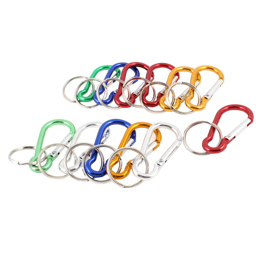 Multicolor Aluminum Spring Loaded Gate D Shaped Keychain Carabiner 12 Pcs