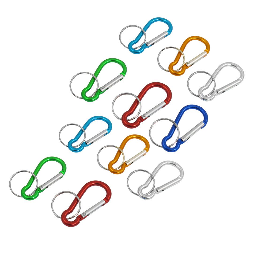 11 Pcs Assorted Color Aluminum D Shape Key Ring Locking Carabiner