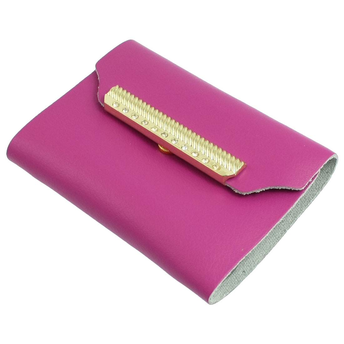 Magenta Faux Leather Press Button Closure Business Name Card Holder