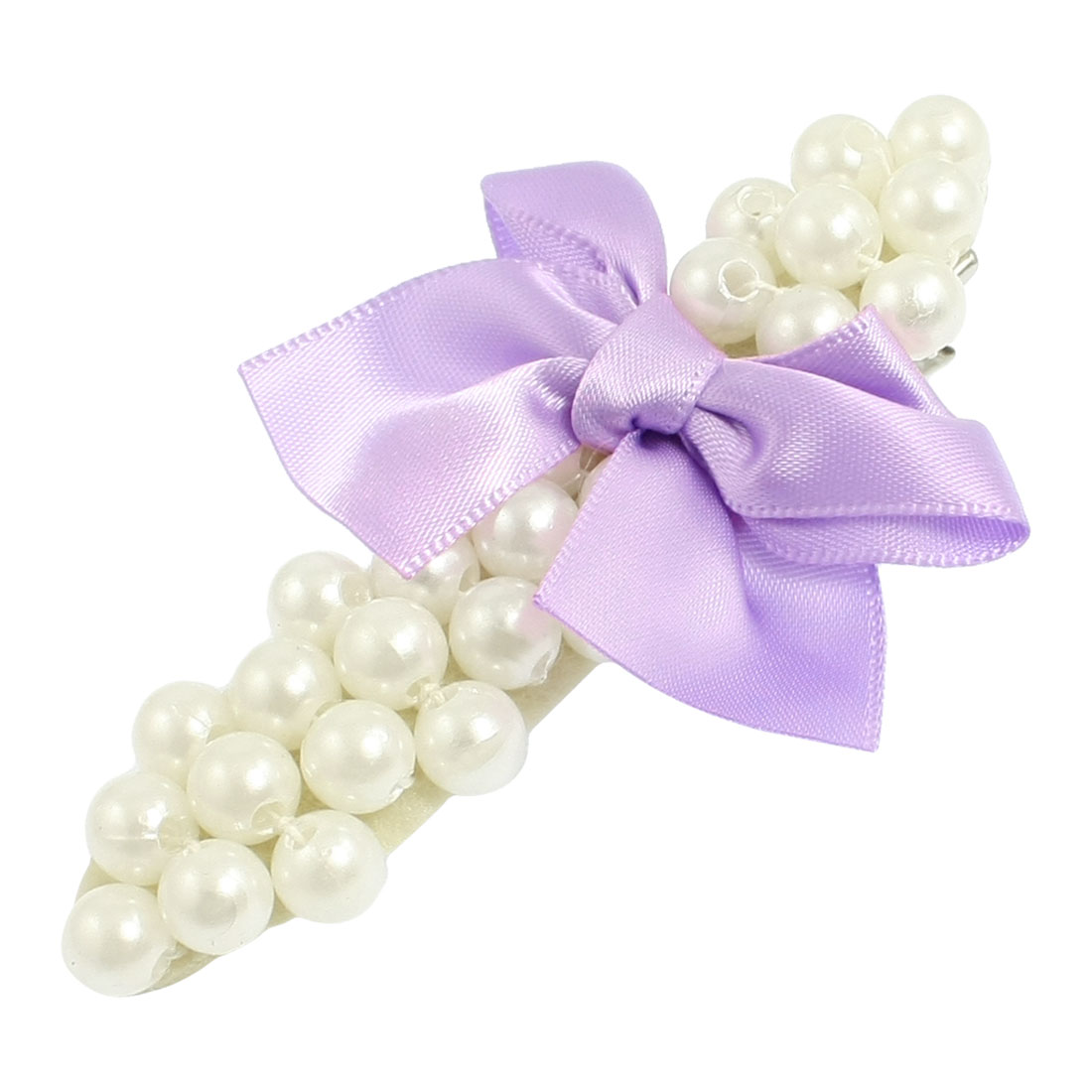 Girl Purple Bowknot White Plastic Pearls Decor Alligator Hair Clip