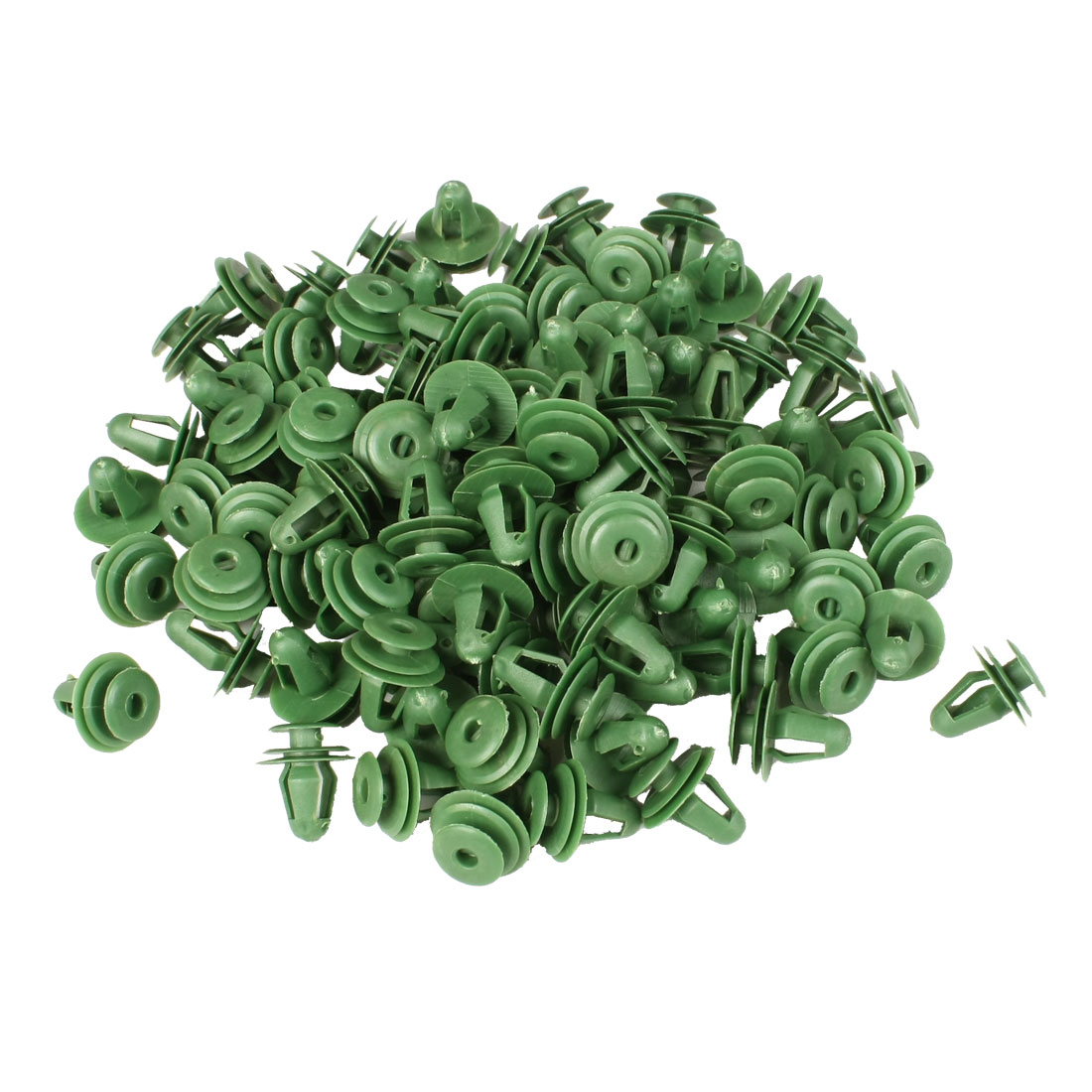 100 Pcs Green Car Fender Plastic Rivet Fastener 17mm x 14mm x 10mm