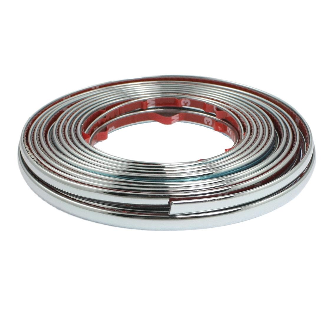 Car Window Silver Tone Soft PVC Adhesive Back Moulding Trim Strip Line 8M x 8mm