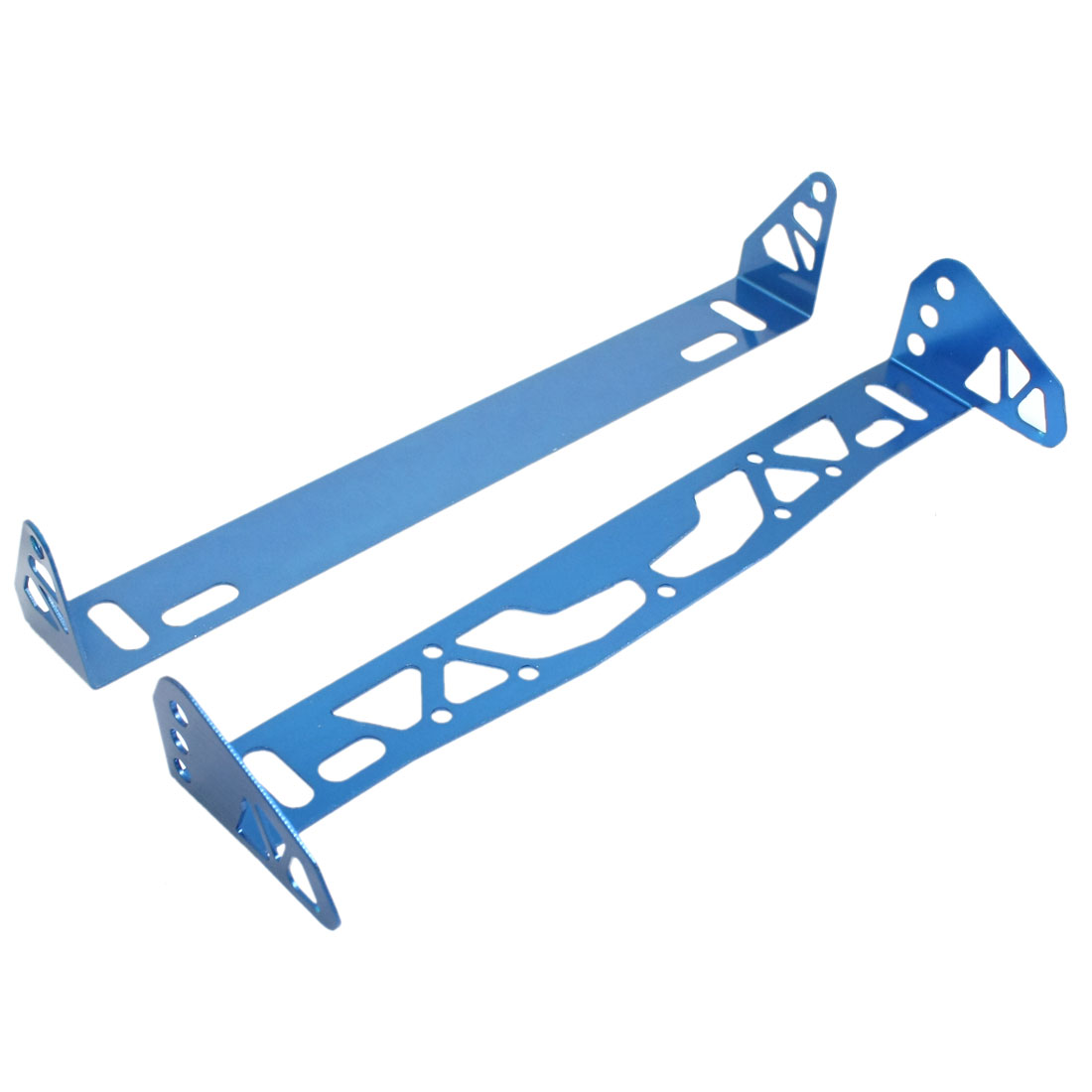 Pair Blue Metal Car License Plate Bracket Number Frame Holder