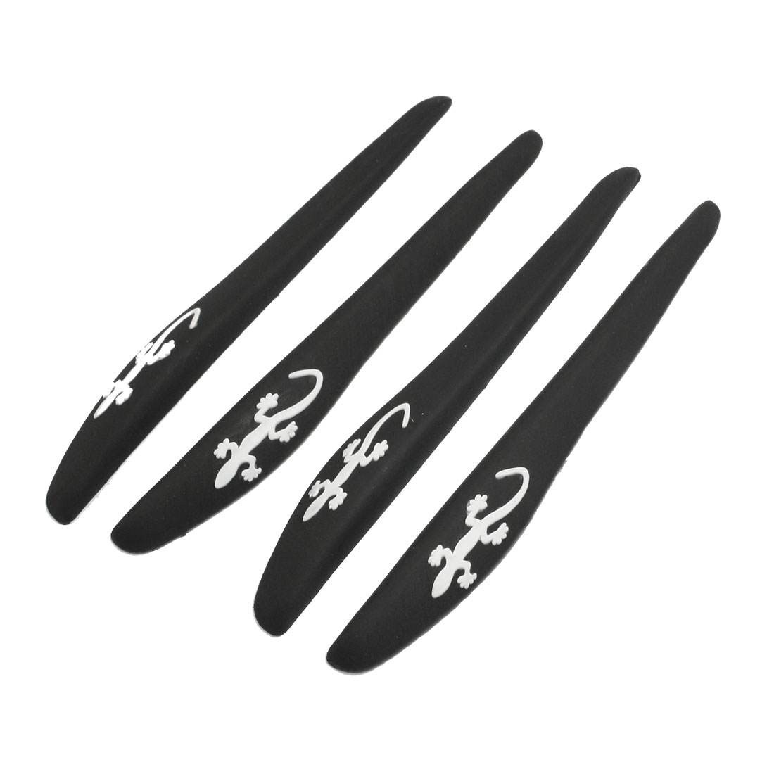 4 Pcs Black White Gecko Decors Car Door Bumper Guard Sticker