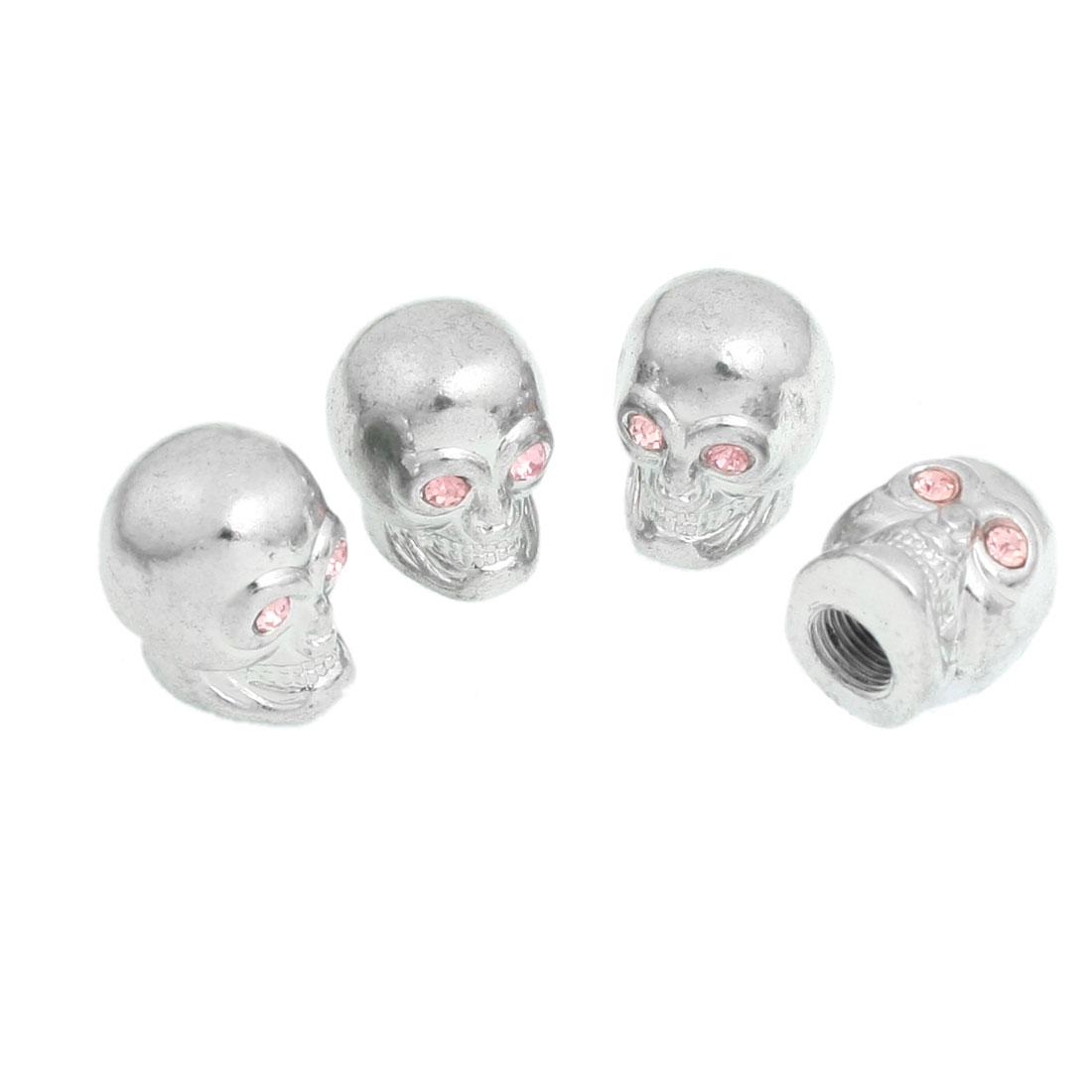 4 Pcs Sliver Tone Pink Skull Head Aluminum Alloy Car Tyre Valve Cap Cover