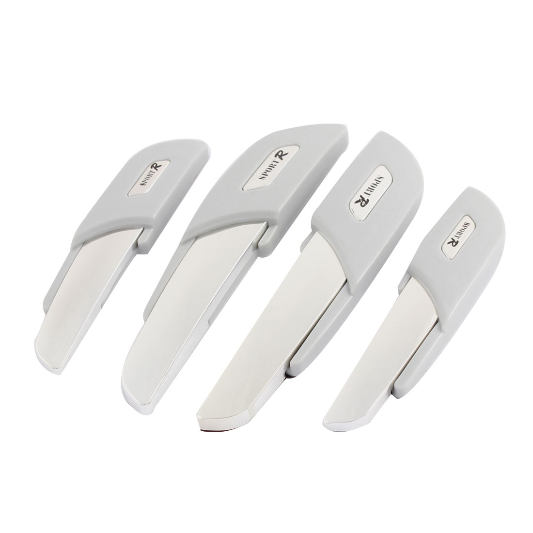 4 Pcs White Silver Tone Decorative Car Door Bumper Guard Sticker