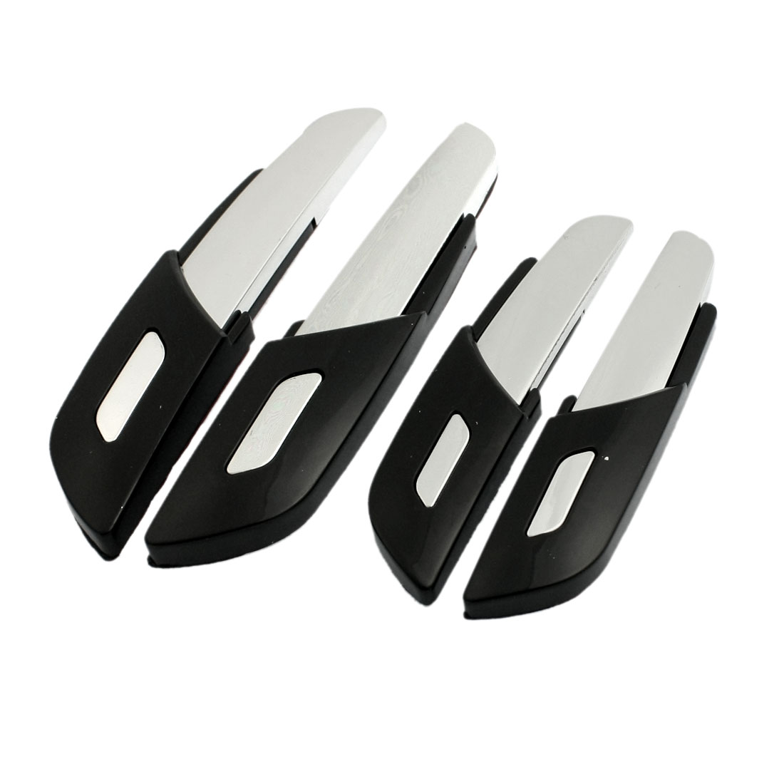 4 Pcs Black Silver Tone Decorative Car Door Bumper Guard Sticker