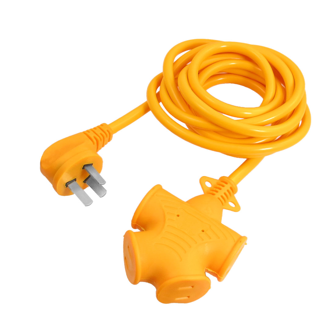 9.8ft Cable AC 250V 16A US AU Plug 4 Outlet Rubber Industrial Socket Connector Yellow