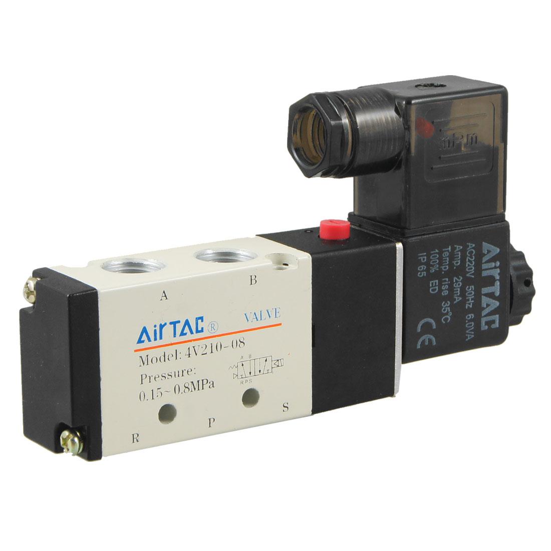 AC220V 29mA 2 Position 5 Port Pneumatic Air Control Solenoid Valve 4V210-08
