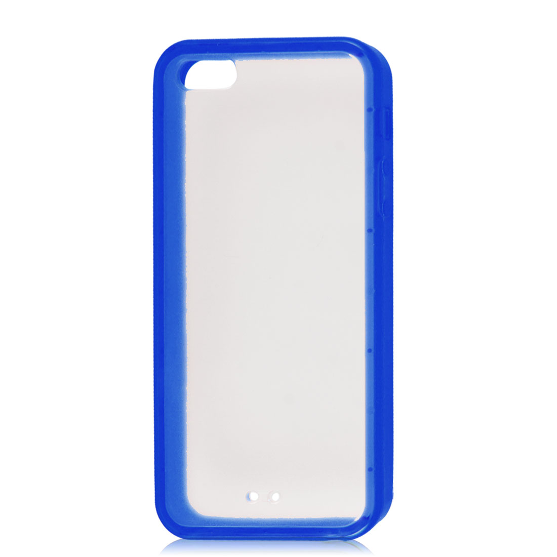 Blue Soft Trim Clear Hard Back Plastic Protective Case Cover for iPhone 5 5G