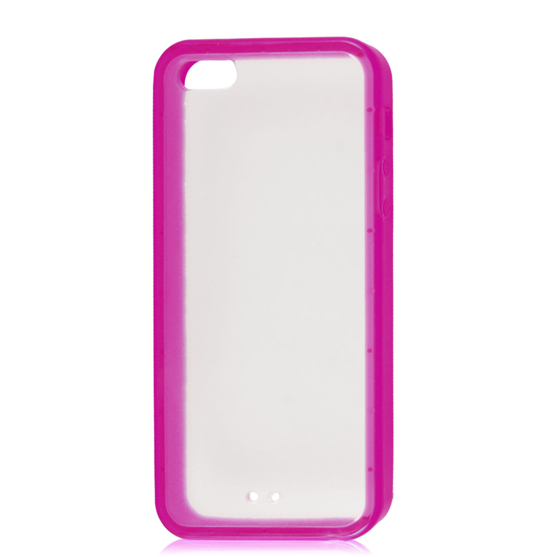 Fuchsia Soft Trim Clear Hard Back Plastic Protective Case Cover for iPhone 5 5G