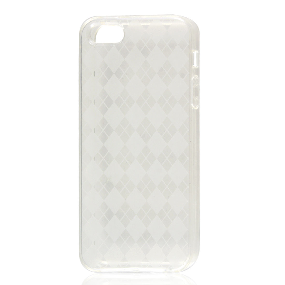 Clear White Argyle Pattern Soft Plastic TPU Case Cover for iPhone 5 5G