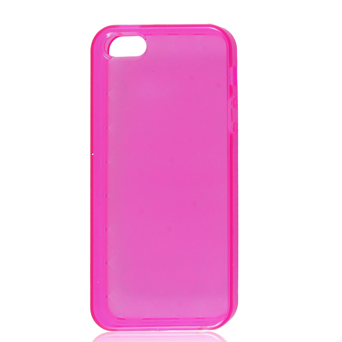 Clear Fuchsia Argyle Pattern Plaid Checkered Soft Plastic TPU Case Cover for iPhone 5 5G