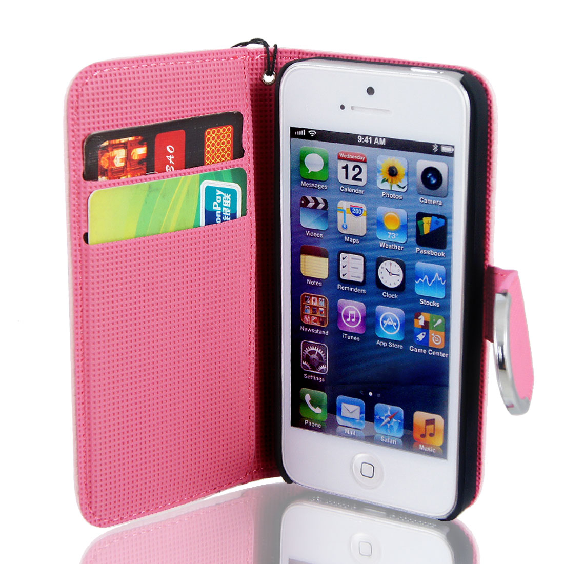 Pink Faux Leather Magnetic Flip Case Cover Pouch for Apple iPhone 5 5G