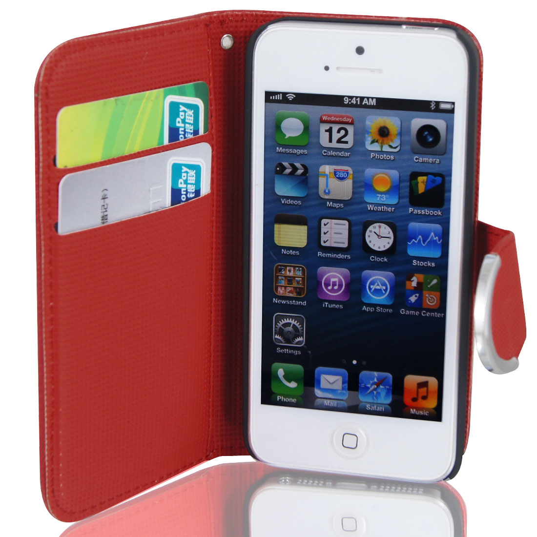 Red Faux Leather Magnetic Flip Case Cover Pouch for Apple iPhone 5 5G
