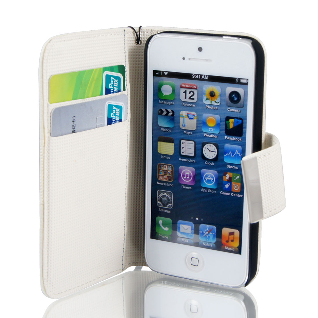 White Faux Leather Magnetic Flip Cover Case Pouch for Apple iPhone 5 5G 5th Gen