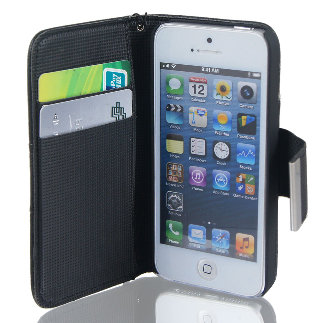 Black Faux Leather Magnetic Flip Cover Case Pouch for Apple iPhone 5 5G 5th Gen