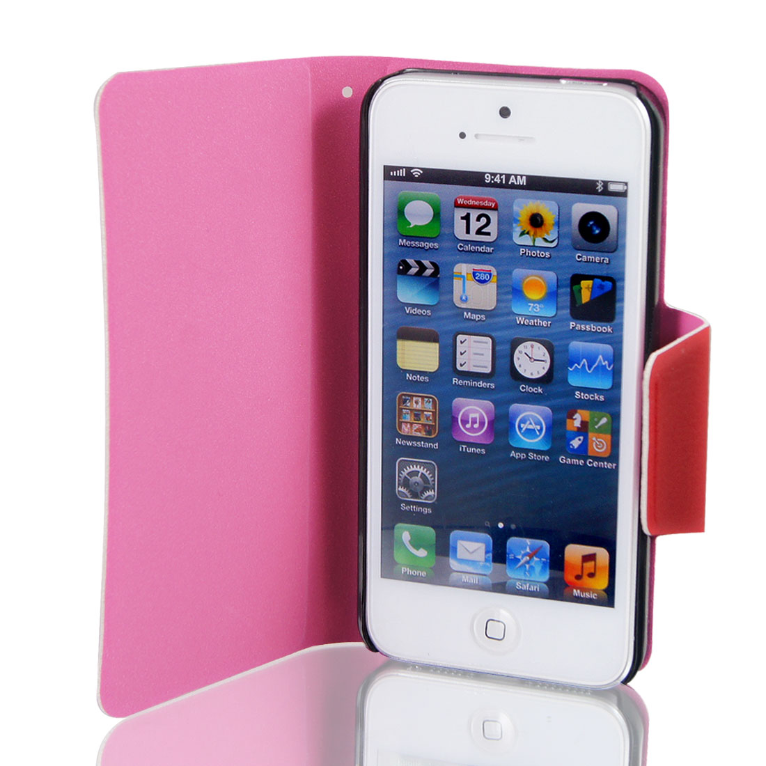 Red Faux Leather Magnetic Flip Protective Case Cover for Apple iPhone 5 5G
