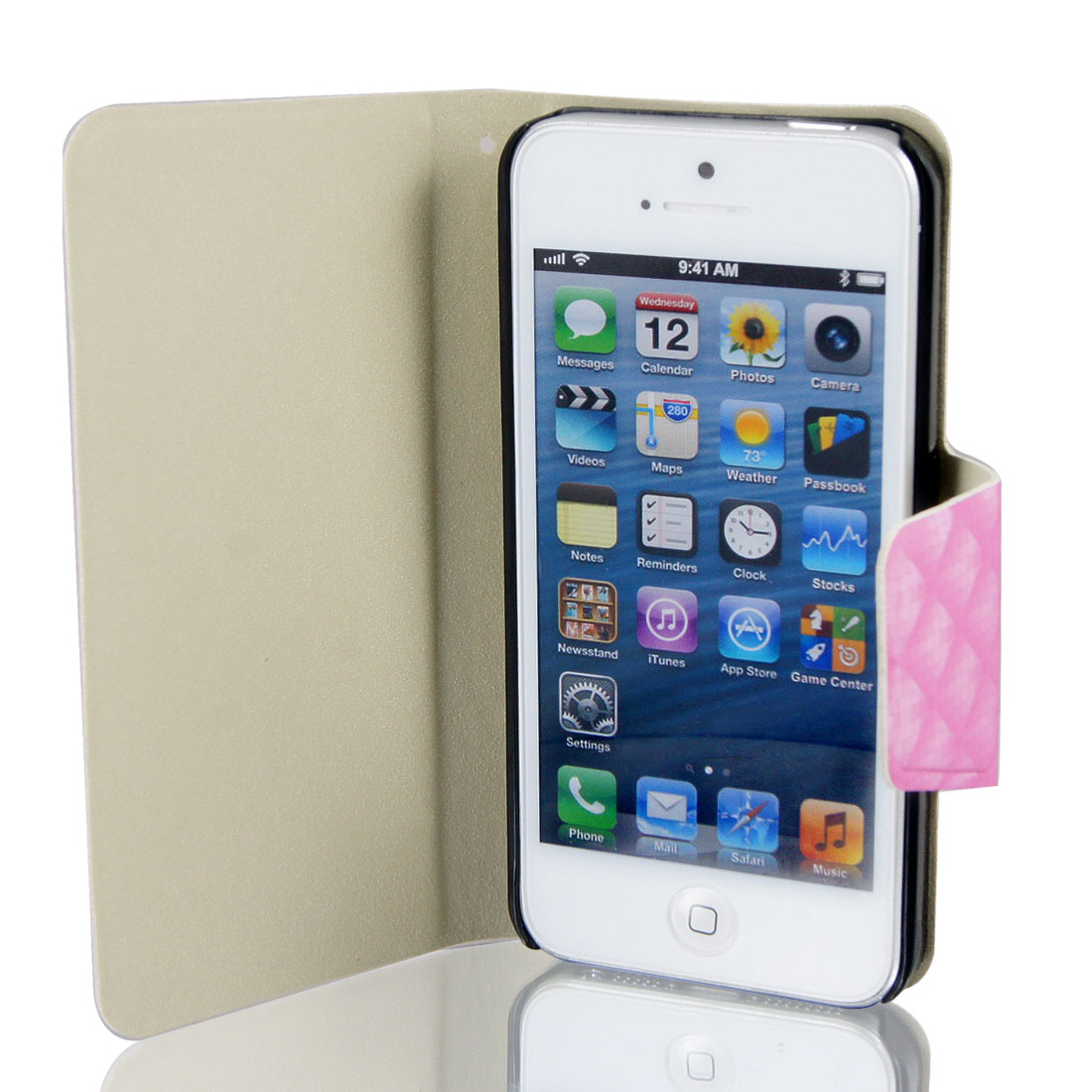 Pink Faux Leather Checked Flip Stand Cover Case Pouch for Apple iPhone 5 5G