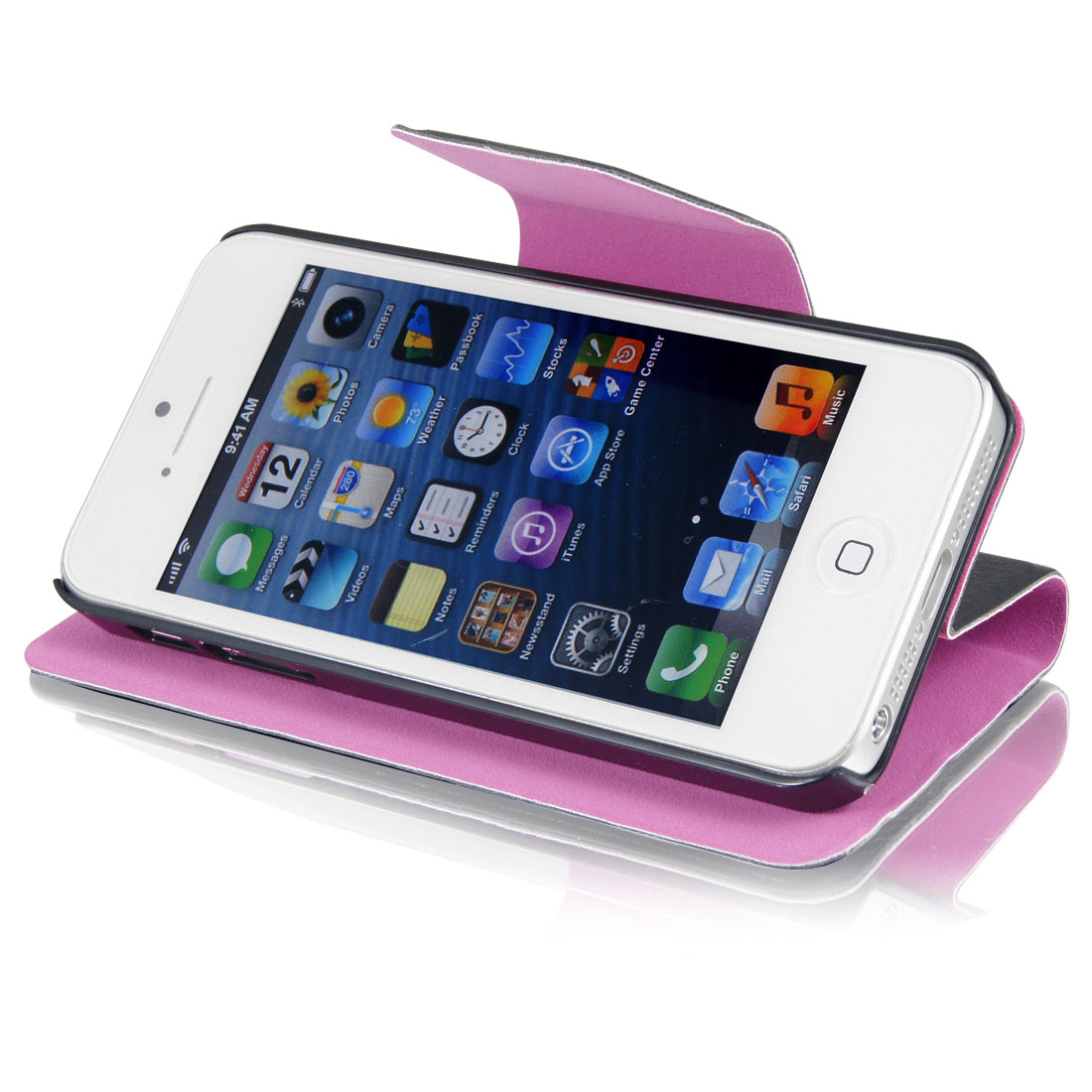 Black Faux Leather Magnetic Flip Protective Case Cover Pouch for iPhone 5 5G